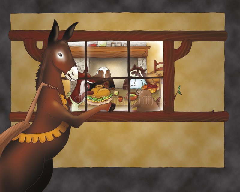Cheval regardant dans une maison illustration de vecteur