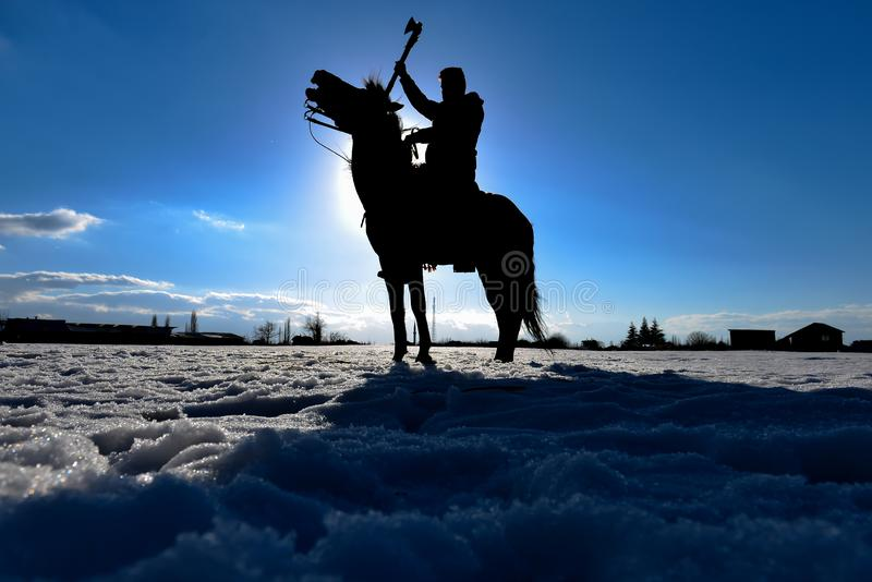 Cheval Rider Warrior Model Silhouette photographie stock libre de droits