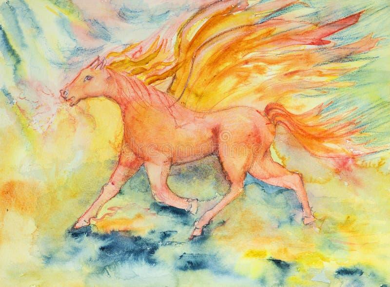 Cheval rouge de l'apocalypse en feu et flamme illustration libre de droits