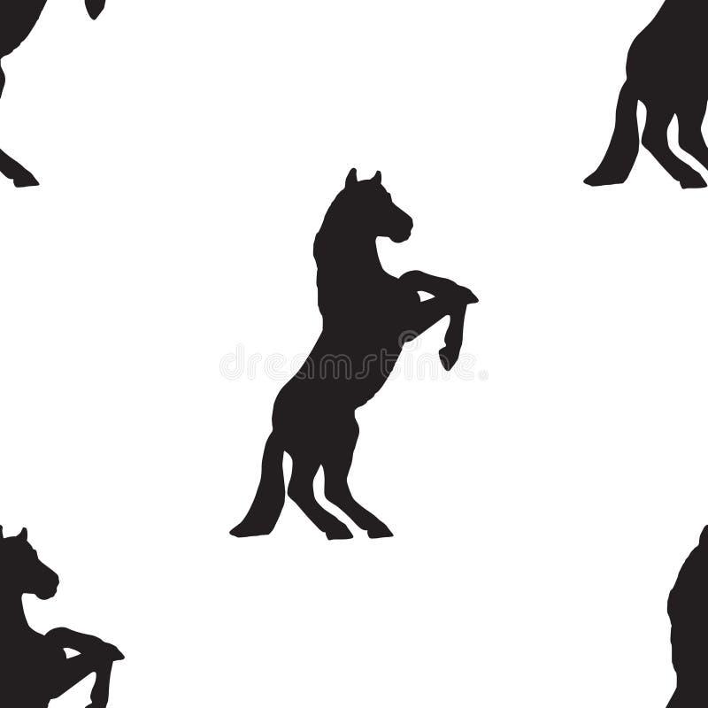 Cheval sans couture de silhouette de modèle illustration stock