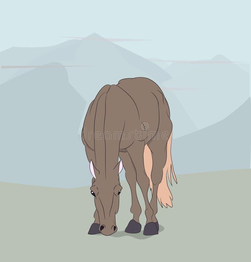 Cheval se tenant en nature illustration de vecteur