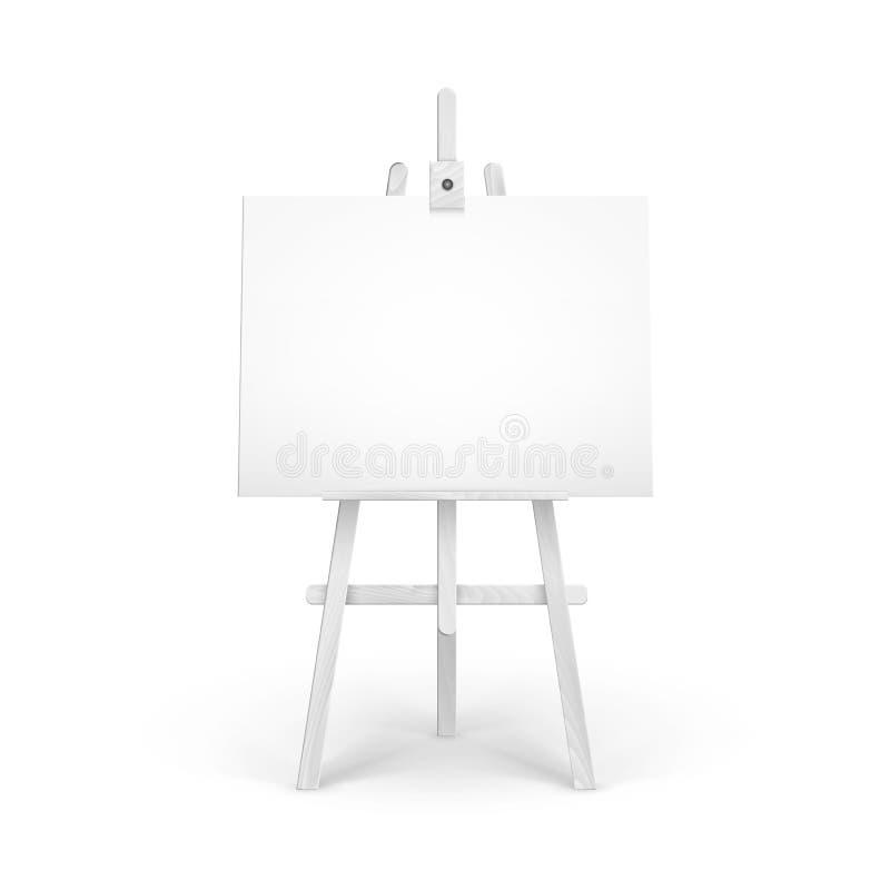 Chevalet blanc en bois avec la moquerie vers le haut de la toile horizontale vide vide d'isolement sur le fond illustration libre de droits