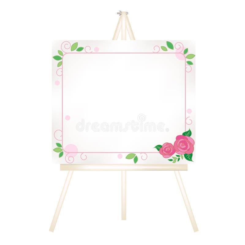 Chevalet de toile - décoration à la mode de roses illustration stock