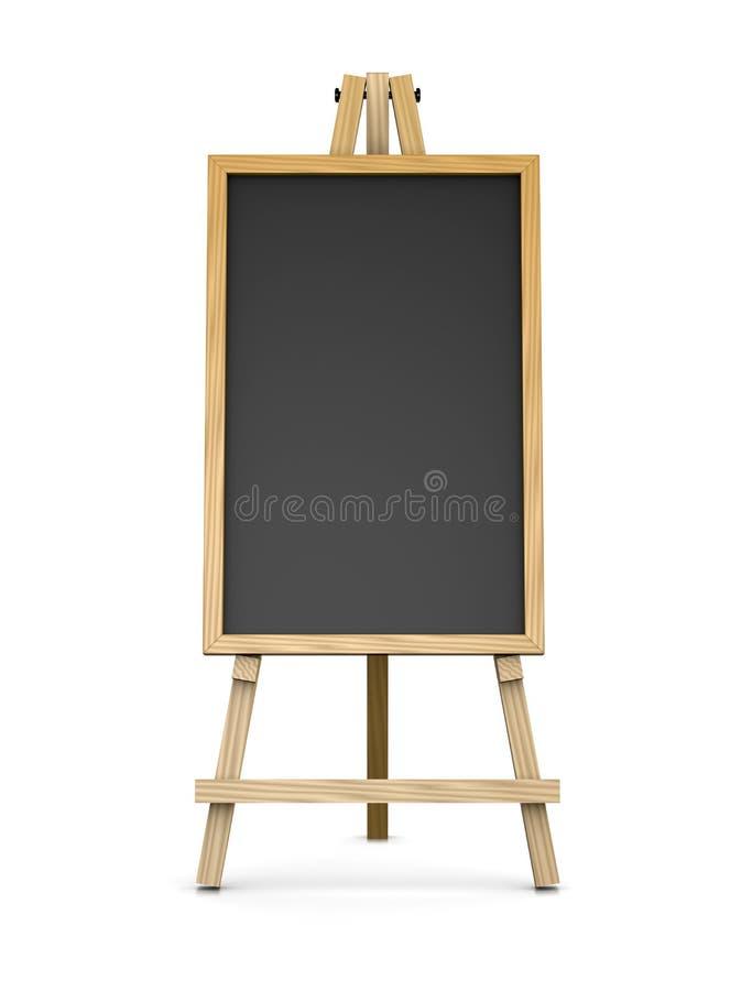 Chevalet en bois soutenant un tableau noir vide illustration libre de droits