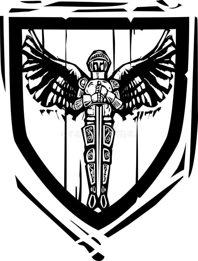 Chevalier à ailes par bouclier héraldique illustration stock