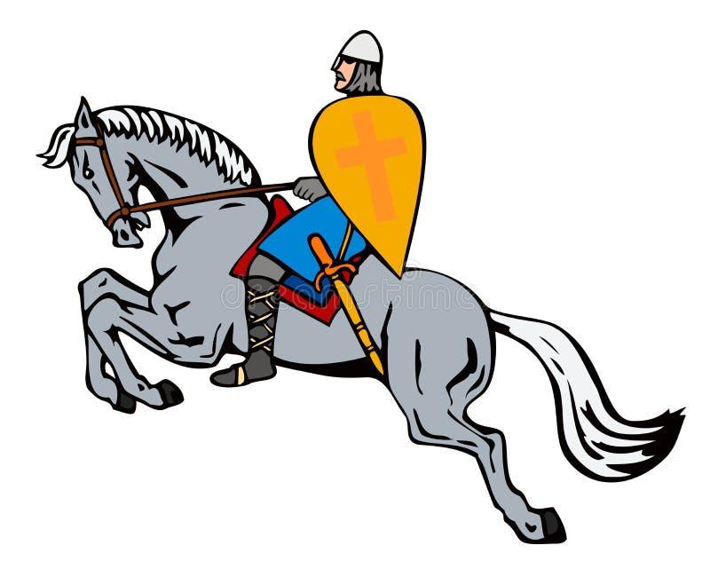 Chevalier à cheval illustration libre de droits