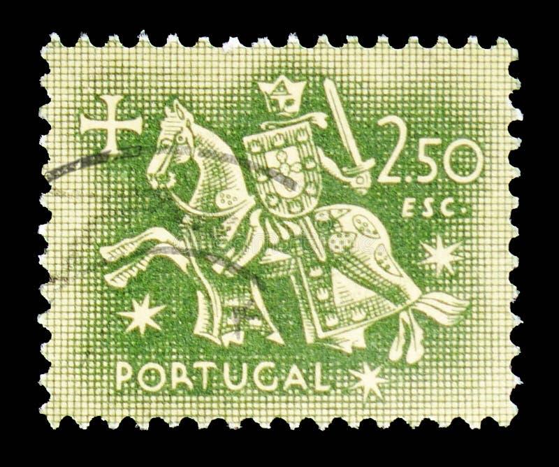 Chevalier à cheval (du joint du Roi Dinis), joint équestre de serie du Roi Diniz, vers 1953 photos stock