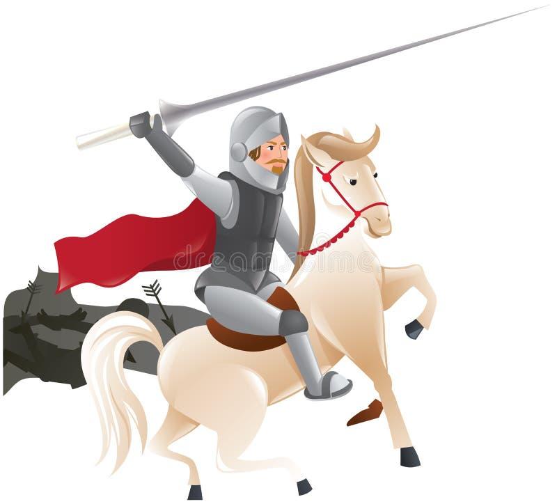 Chevalier avec la lance à cheval illustration de vecteur