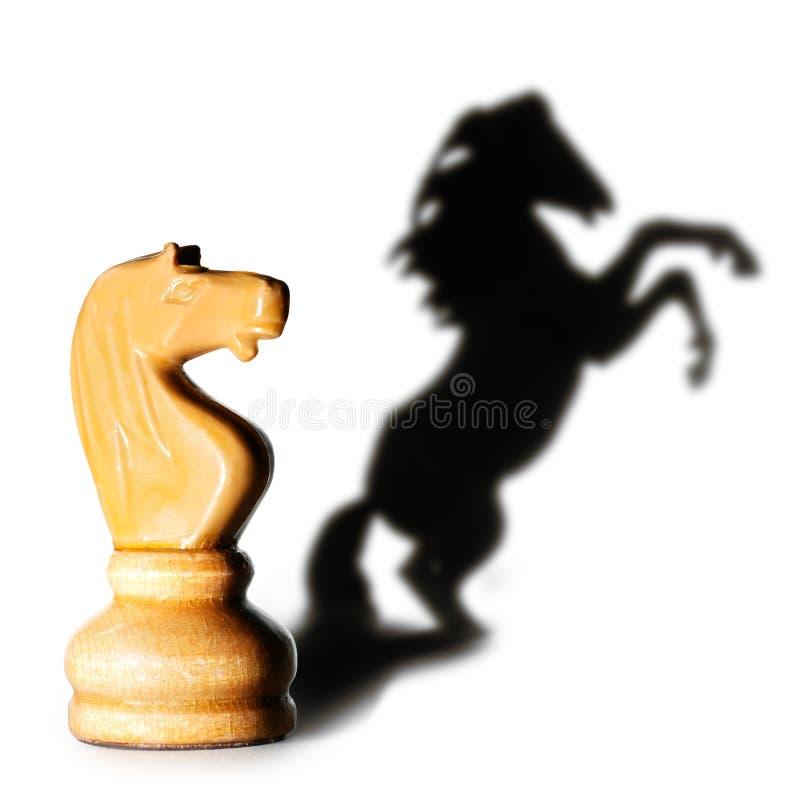 Chevalier blanc avec une ombre d'art images libres de droits
