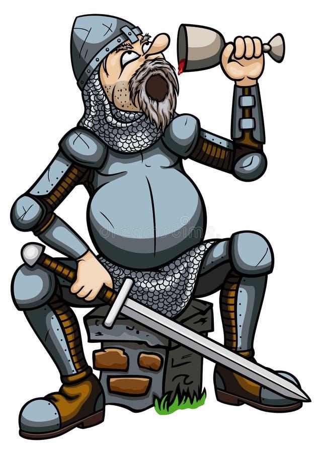 Chevalier buvant d'un gobelet illustration libre de droits