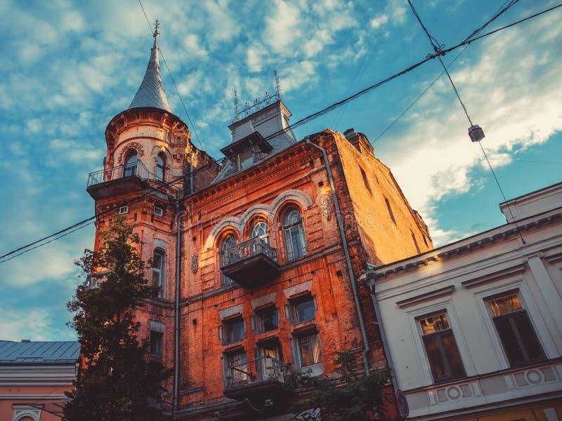 Chevalier Castle dans la lumière de coucher du soleil Kiev, Ukra photo stock