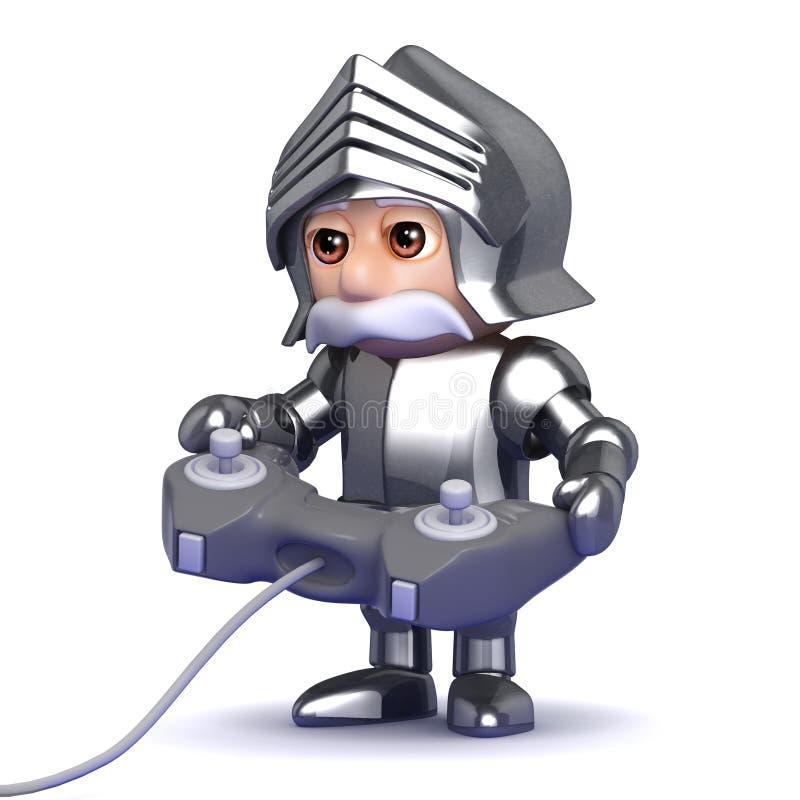 chevalier 3d dans l'armure jouant un jeu vidéo illustration libre de droits