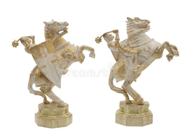 Chevalier de Moyen Âge avec le jouet de cheval image stock