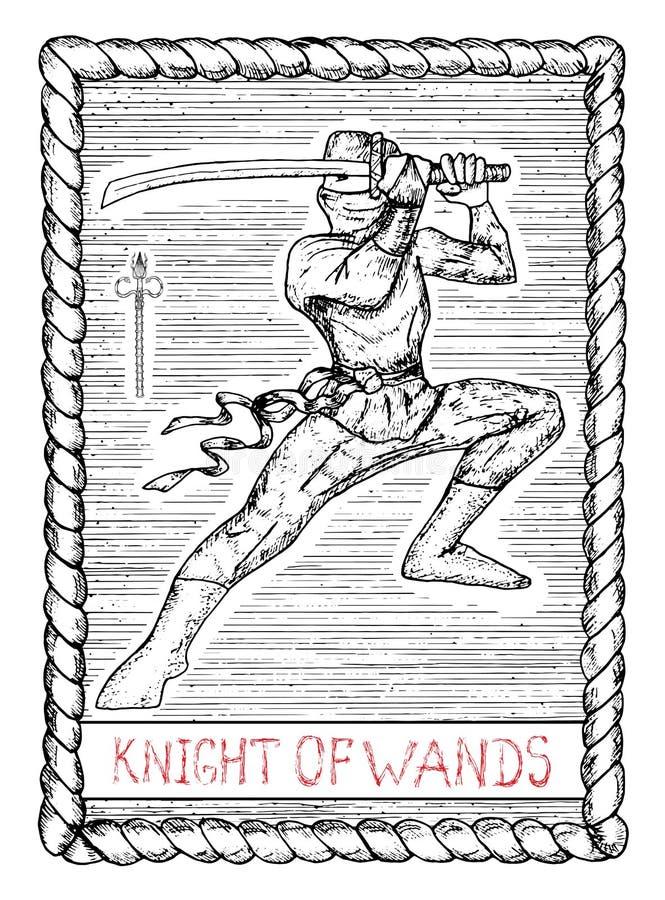 Chevalier des baguettes magiques La carte de tarot illustration libre de droits