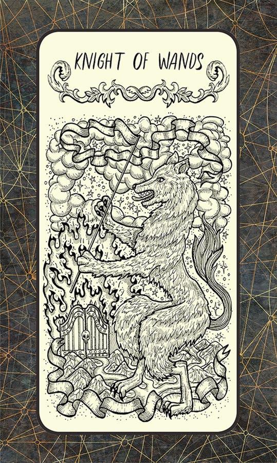 Chevalier des baguettes magiques La carte de tarot magique de porte illustration de vecteur