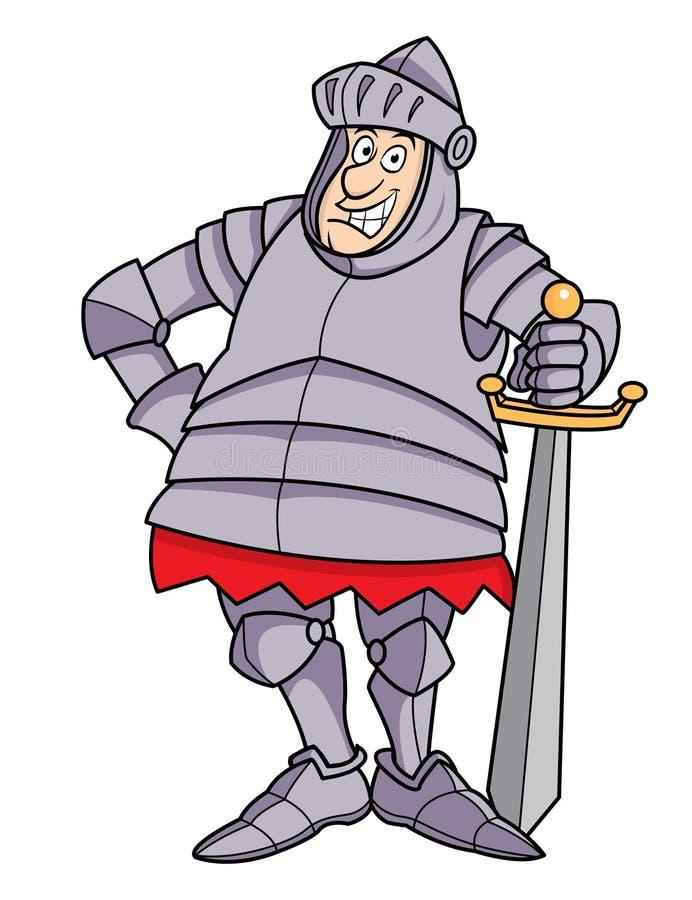 Chevalier dodu de dessin animé dans l'armure illustration libre de droits