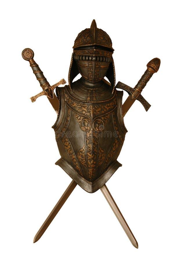 Chevalier et épées images stock