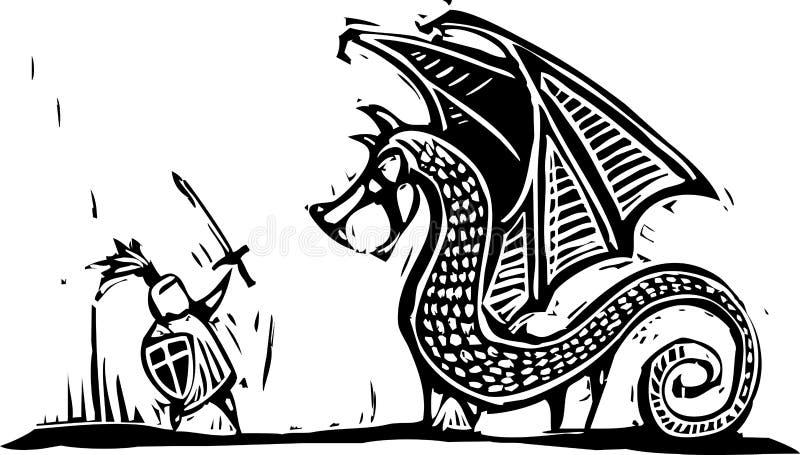 Chevalier et dragon illustration stock