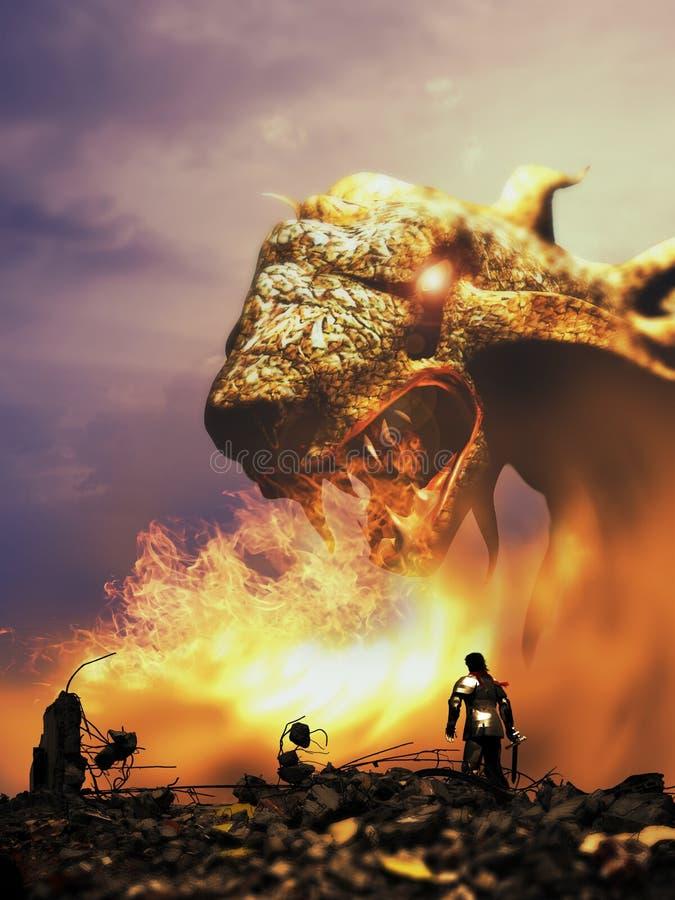 Chevalier et dragon illustration libre de droits