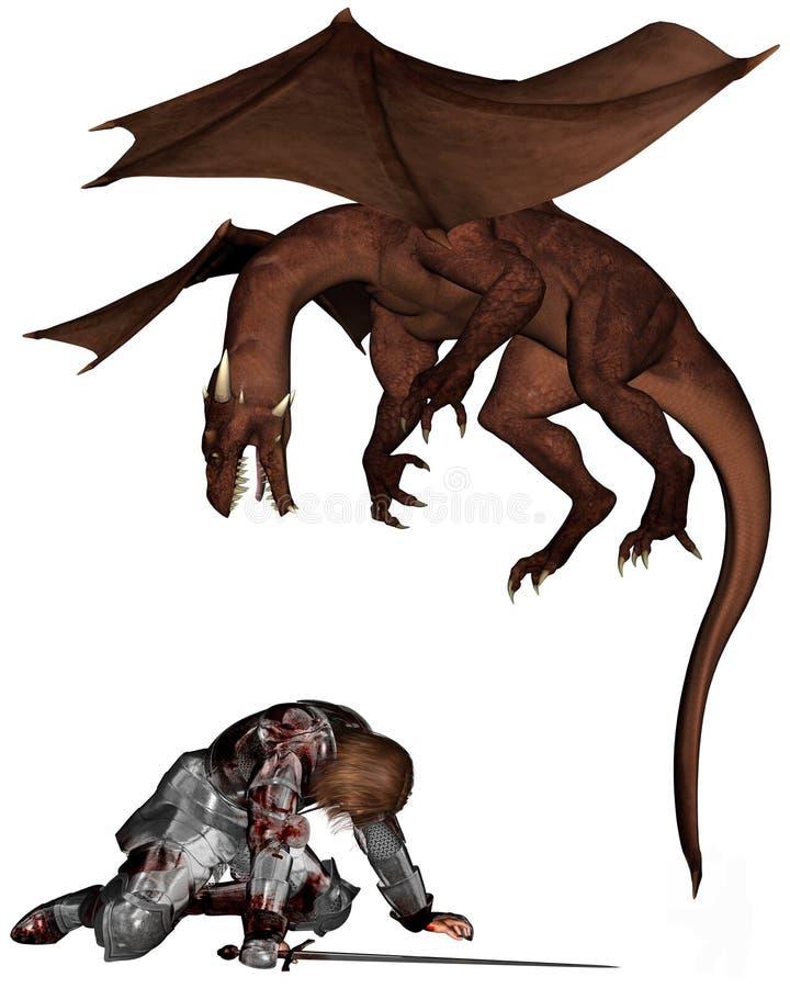 Chevalier et dragon blessés illustration stock