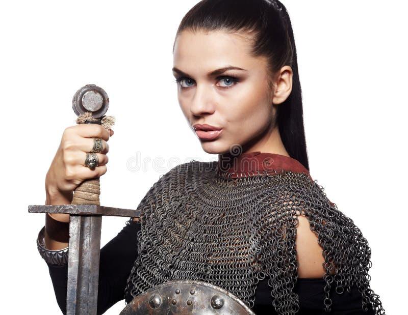 Chevalier féminin dans l'armure images libres de droits