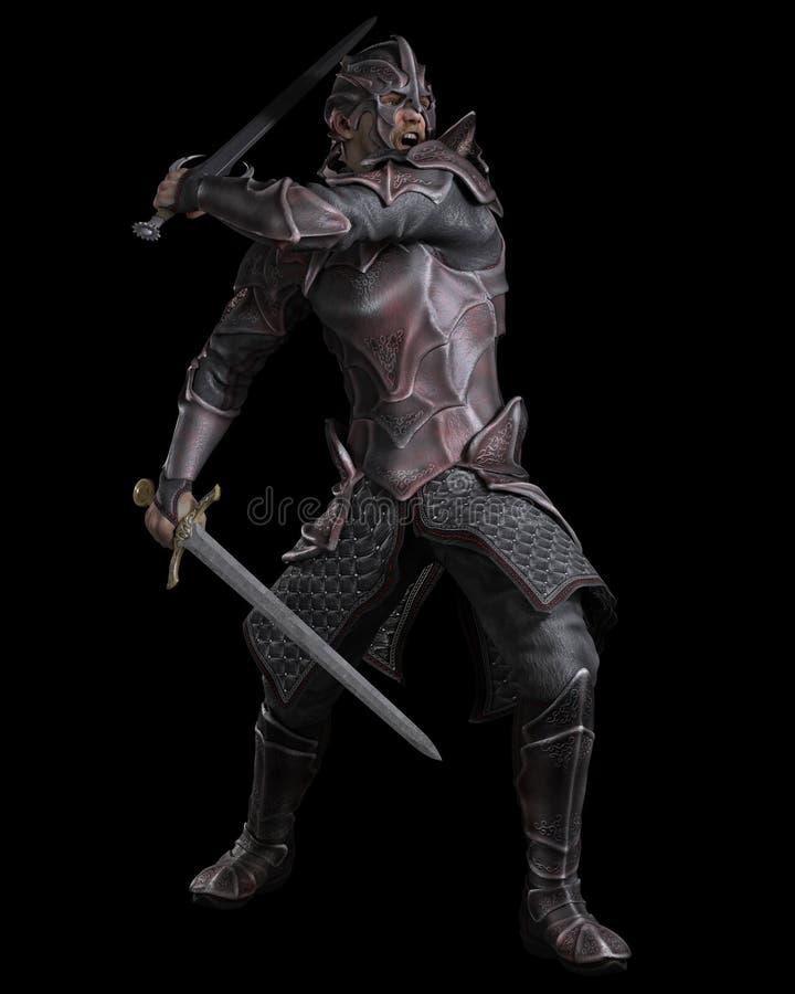 Chevalier foncé d'imagination avec deux épées illustration stock
