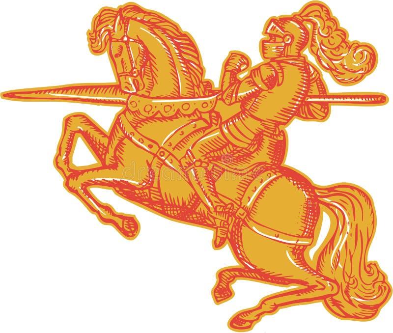 Chevalier Full Armor Horseback Lance Etching illustration de vecteur