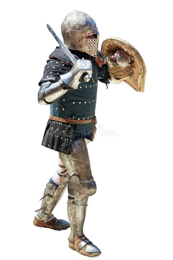 Chevalier médiéval avec l'épée et le bouclier photo stock