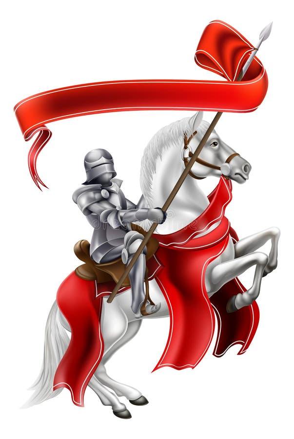 Chevalier médiéval de bannière sur le cheval illustration stock