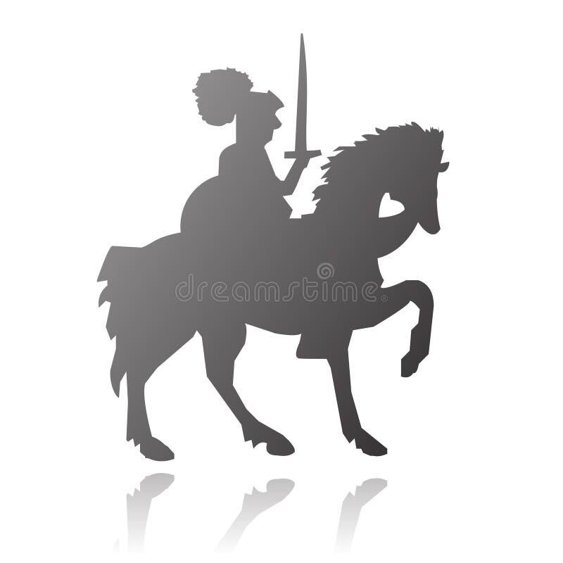 Chevalier sur la silhouette de vecteur de cheval illustration libre de droits