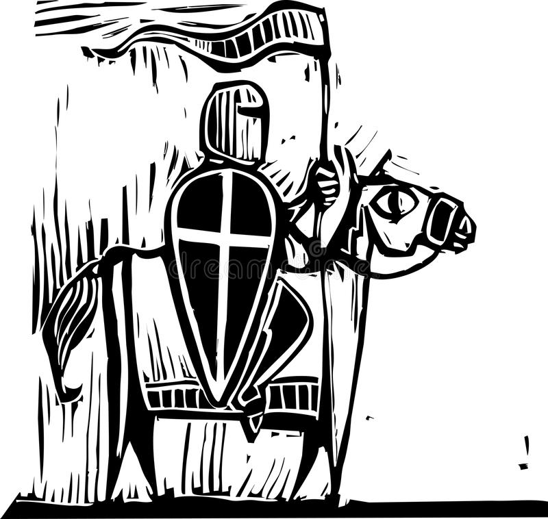 Chevalier sur le cheval illustration de vecteur