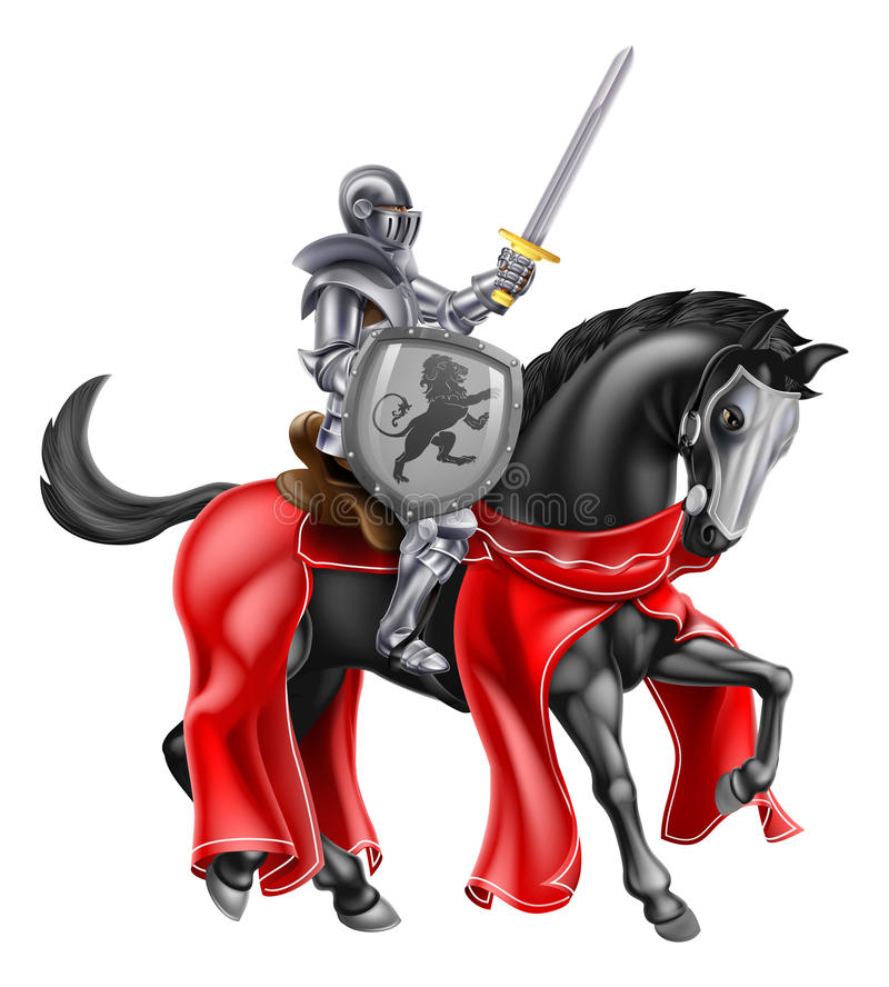 Chevalier sur le cheval illustration stock