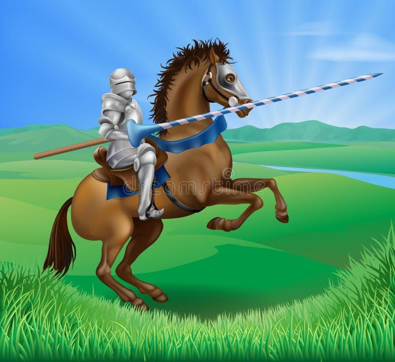 Chevalier sur le cheval avec la lance illustration stock