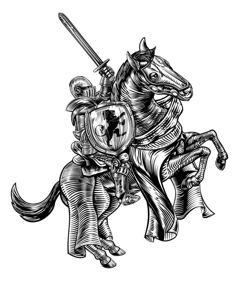 Chevalier sur le style de gravure de bois de graveur de cheval illustration de vecteur