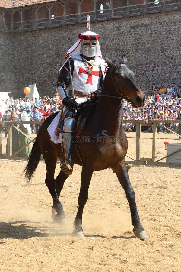 Chevalier sur un cheval images stock