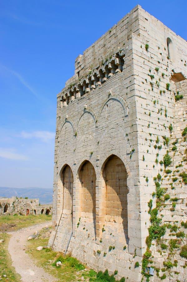 Chevaliers del DES de Krak, cruzados fortaleza, Siria imagen de archivo
