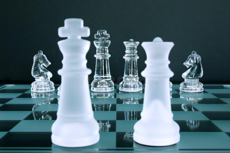 Chevaliers du Roi la Reine d'échecs photo libre de droits