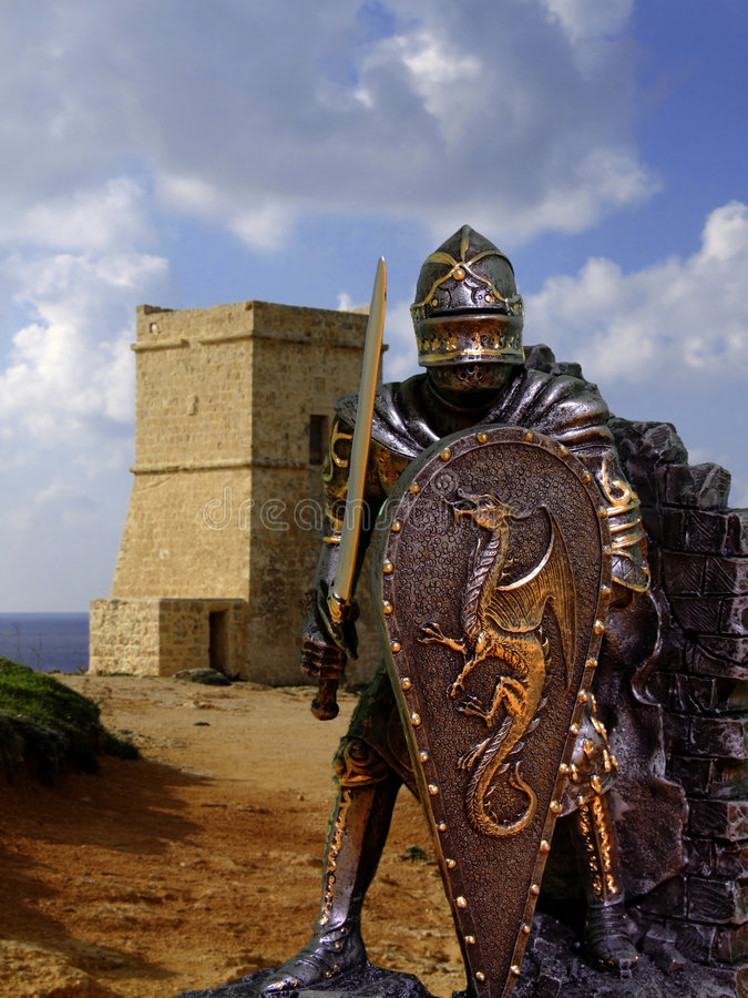 Chevaliers et armure image stock