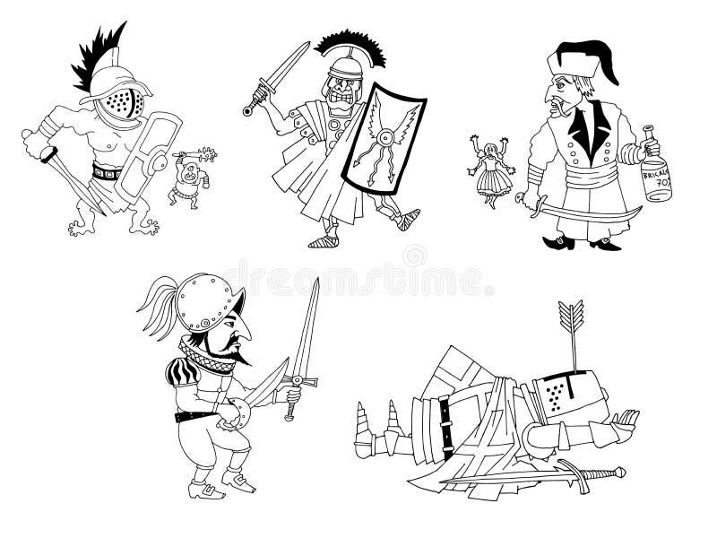Chevaliers et guerriers de bande dessinée illustration de vecteur