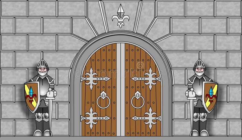 Chevaliers gardant des portes dans le vecteur illustration stock