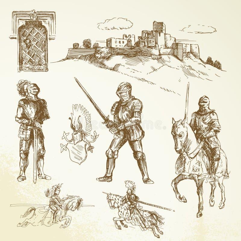 Chevaliers médiévaux illustration de vecteur