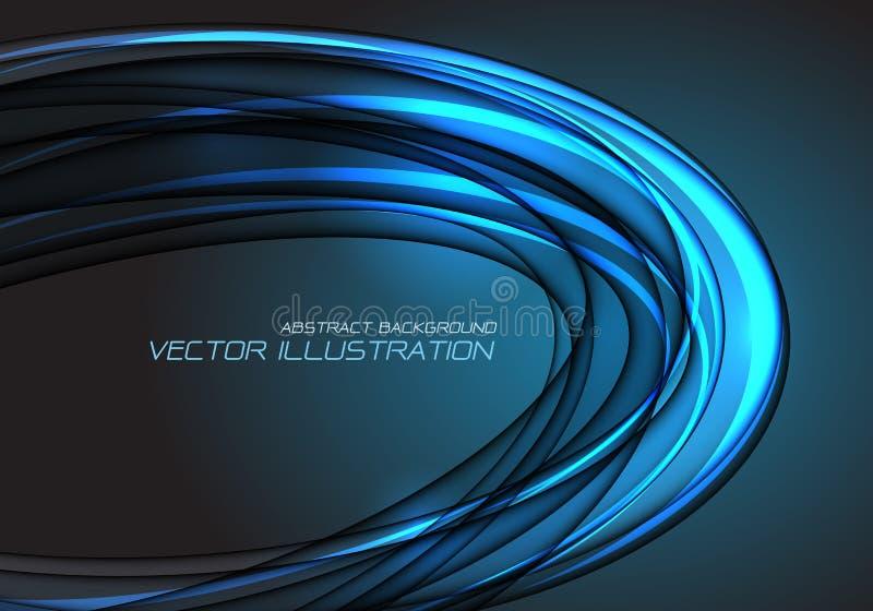 Chevauchement léger bleu de courbe d'ellipse de résumé sur le vecteur futuriste de luxe moderne de fond de technologie de concept illustration libre de droits