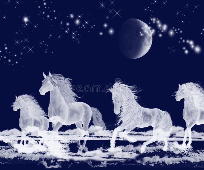 Chevaux argentés d'esprit d'océan de lune illustration de vecteur