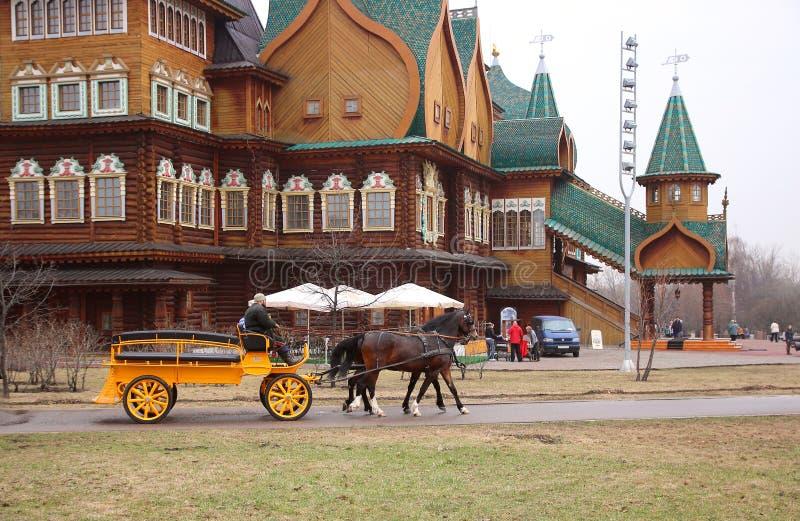 , Chevaux armés à un chariot pour une balade autour du parc photographie stock