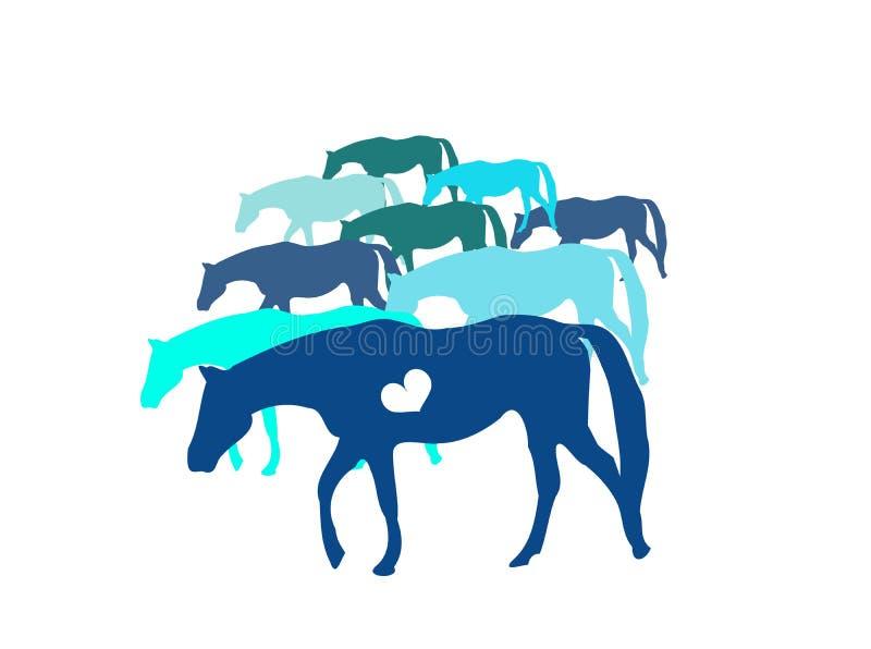 Chevaux bleus illustration de vecteur