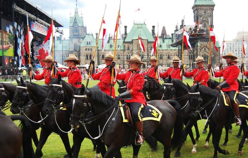 Chevaux d'équitation du jour RCMP du Canada à Ottawa photo libre de droits