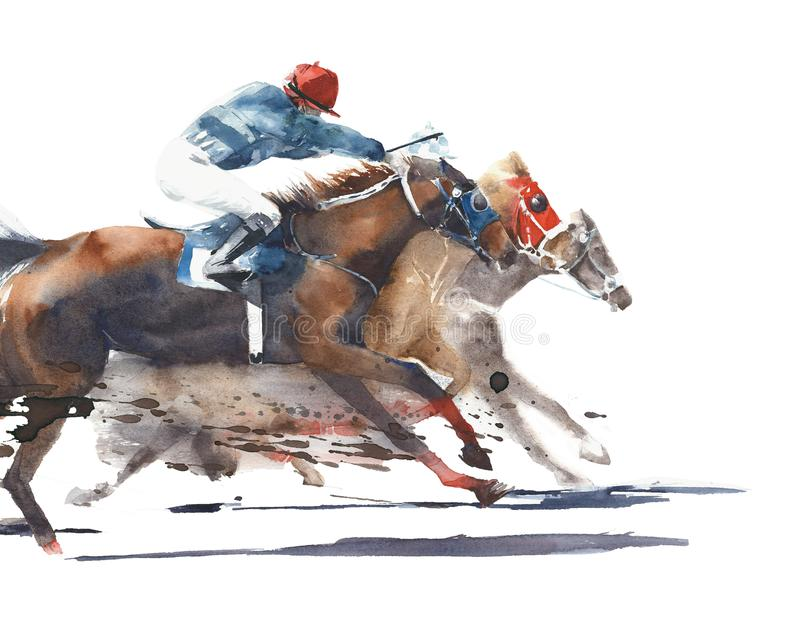 Chevaux d'emballage de Derby de concurrence de course de cheval avec l'illustration de peinture d'aquarelle de jockeys d'isolemen illustration de vecteur