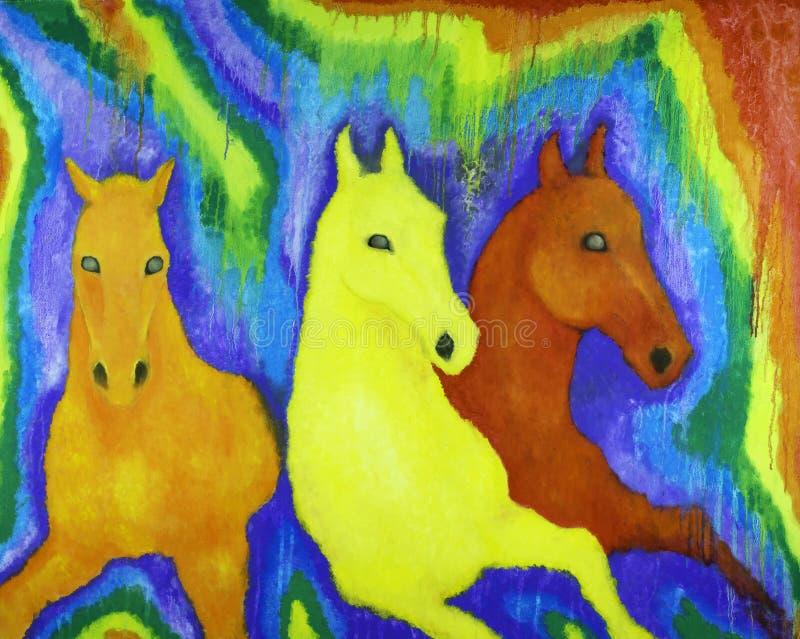 Chevaux dans les couleurs de l'arc-en-ciel photo stock