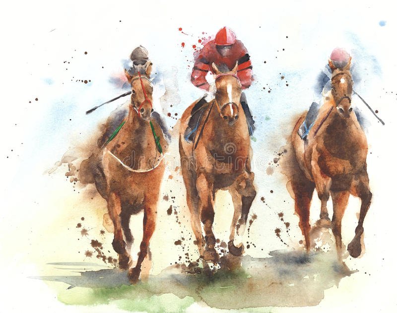 Chevaux de concurrence de jockeys de sport d'équitation de course de cheval courant l'illustration de peinture d'aquarelle illustration de vecteur