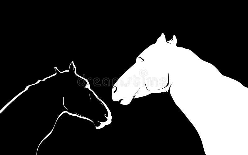Chevaux noirs et blancs illustration de vecteur